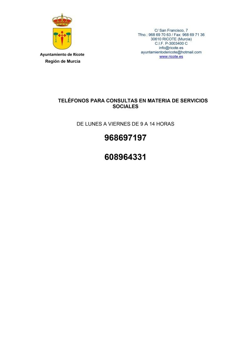 TELÉFONOS ATENCIÓN SERVICIOS SOCIALES