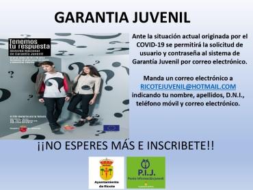 GARANTIA JUVENIL RICOTE DURANTE EL ESTADO DE ALARMA