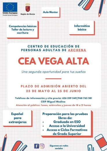 ABIERTO PLAZO DE INSCRIPCION CENTRO DE EDUCACION DE PERSONAS ADULTAS DE ARCHENA