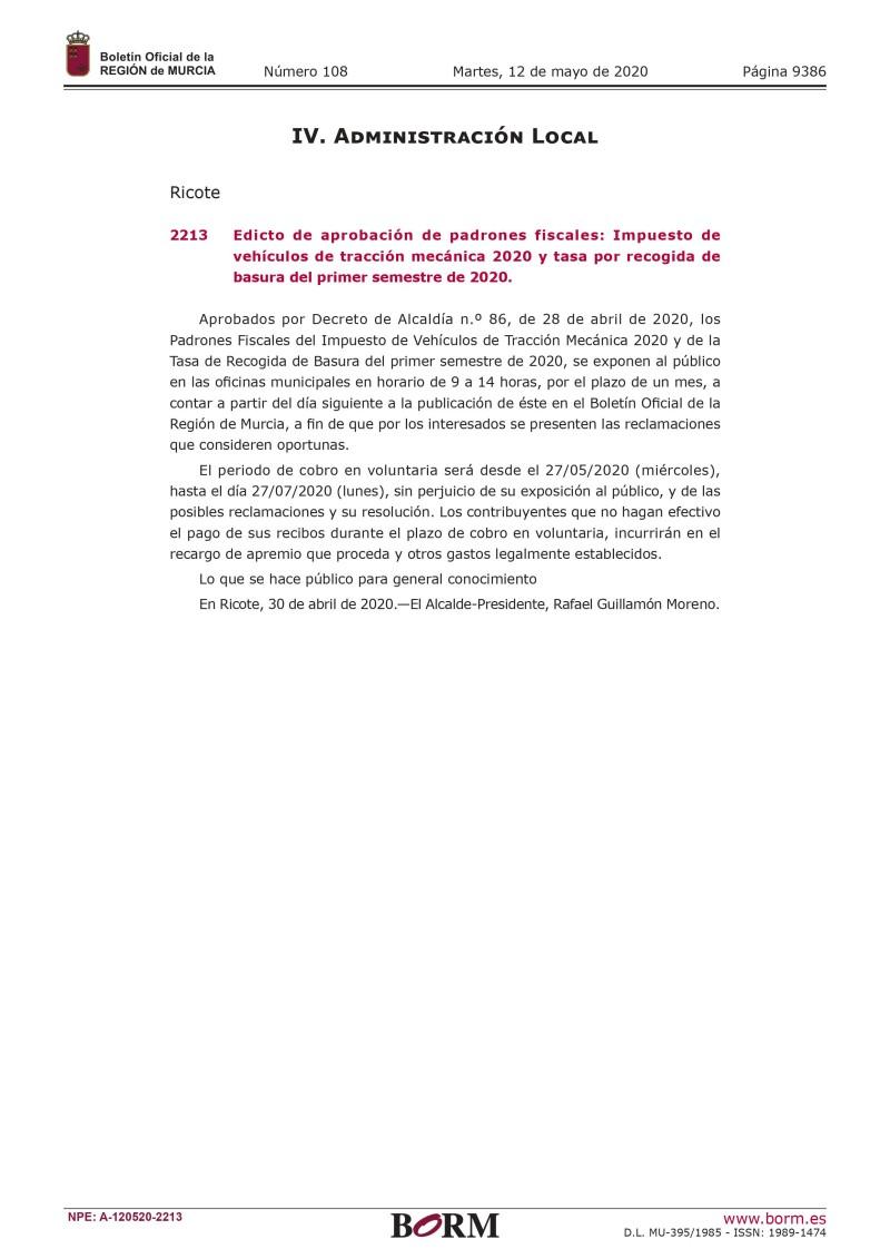 Periodo voluntario de cobra impuesto de vehículos de tracción mecánica y basura 2020