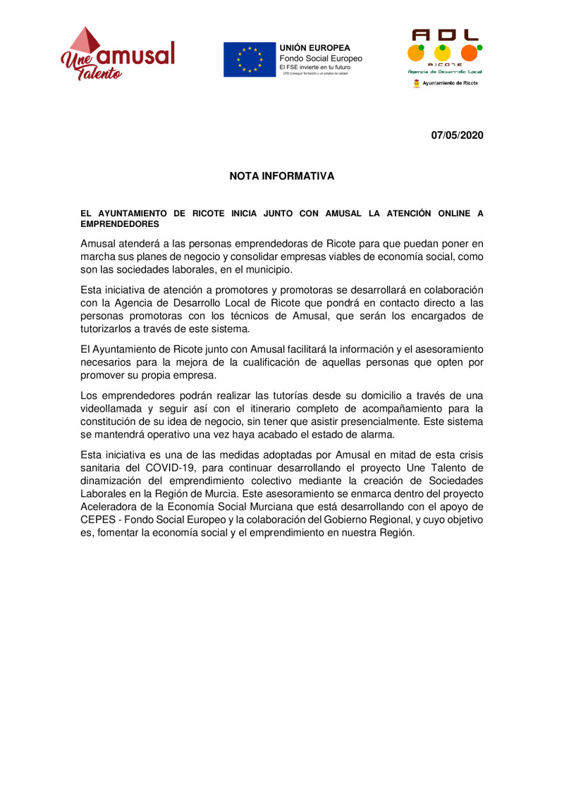 EL AYUNTAMIENTO DE RICOTE INICIA JUNTO CON AMUSAL LA ATENCIÓN ONLINE A EMPRENDEDORES
