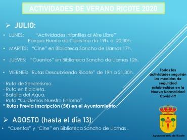 ACTIVIDADES DE VERANO RICOTE 2020
