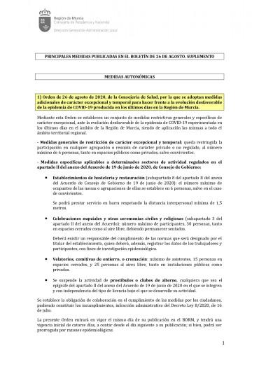 MEDIDAS AUTONÓMICAS COVID-19 DEL 26 DE AGOSTO 2020