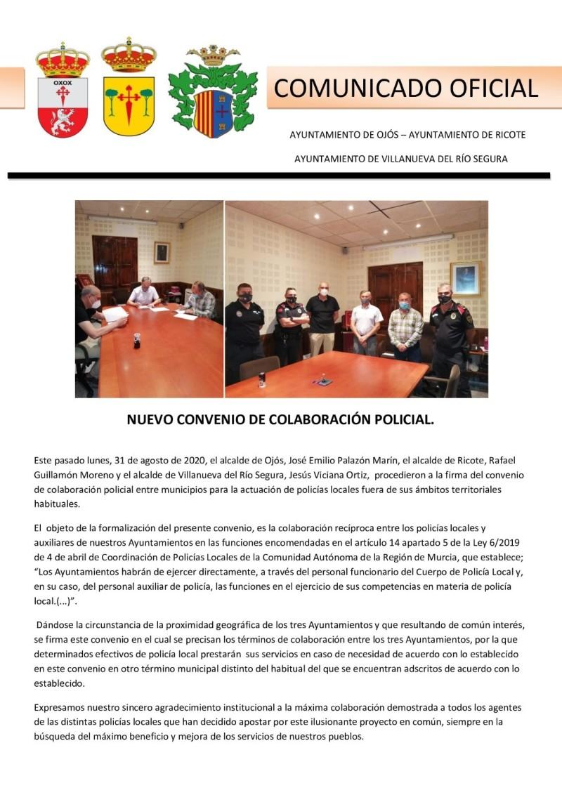 NUEVO CONVENIO DE COLABORACIÓN POLICIAL