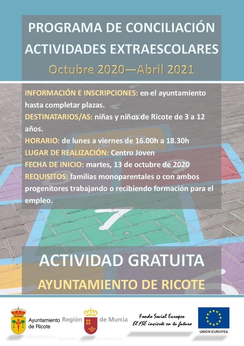 """PROGRAMA DE CONCILIACIÓN AYUNTAMIENTO DE RICOTE 20-21 """"ACTIVIDADES EXTRAESCOLARES"""""""