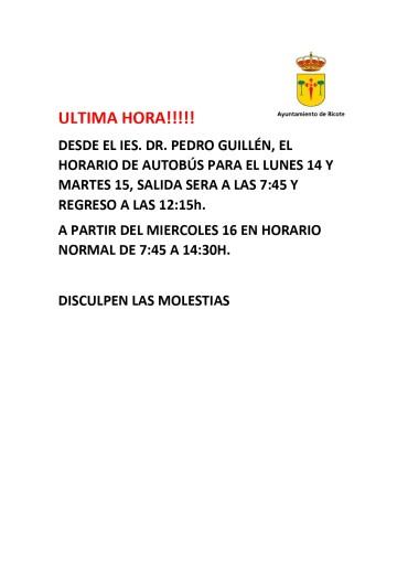 HORARIO DE AUTOBUS DR. PEDRO GUILLEN