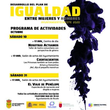 """PROGRAMA DE ACTIVIDADES """"PLAN DE IGUALDAD AYUNTAMIENTO DE RICOTE"""""""