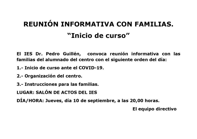 REUNIÓN INFORMATIVA I.E.S. DR. PEDRO GUILLÉN