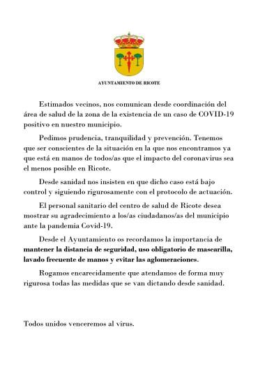 COMUNICADO OFICIAL AYUNTAMIENTO DE RICOTE