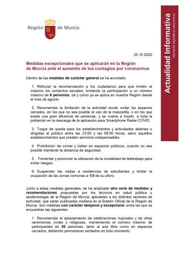 ÚLTIMAS MEDIDAS COVID-19 EN LA REGIÓN DE MURCIA