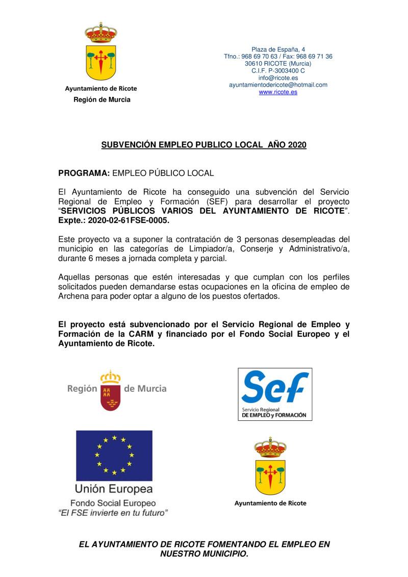 Programa Empleo Público Local 2020