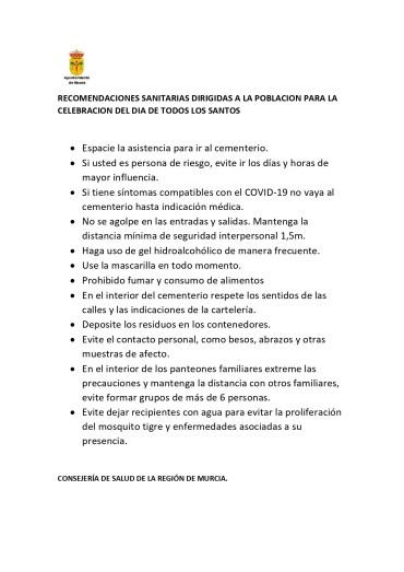 RECOMENDACIONES SANITARIAS DÍA DE TODOS LOS SANTOS