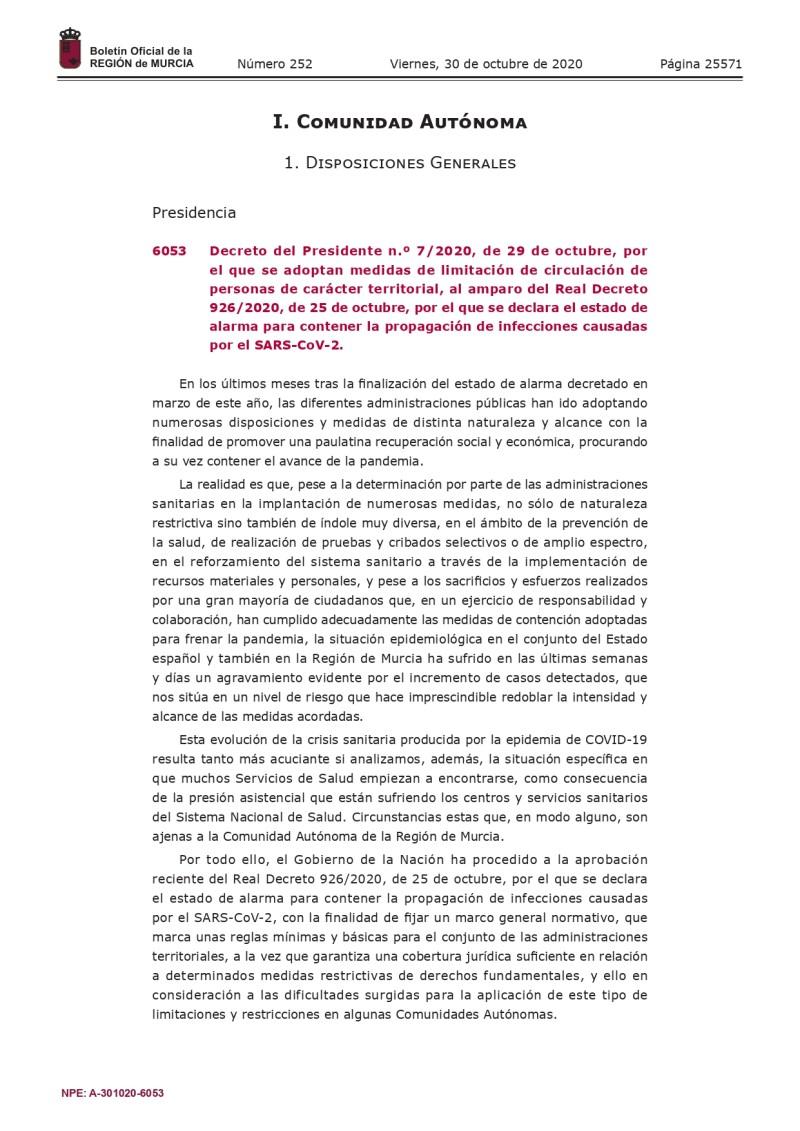 NUEVAS MEDIDAS DE LIMITACIÓN DE CIRCULACIÓN DE PERSONAS DE CARACTER TERRITORIAL