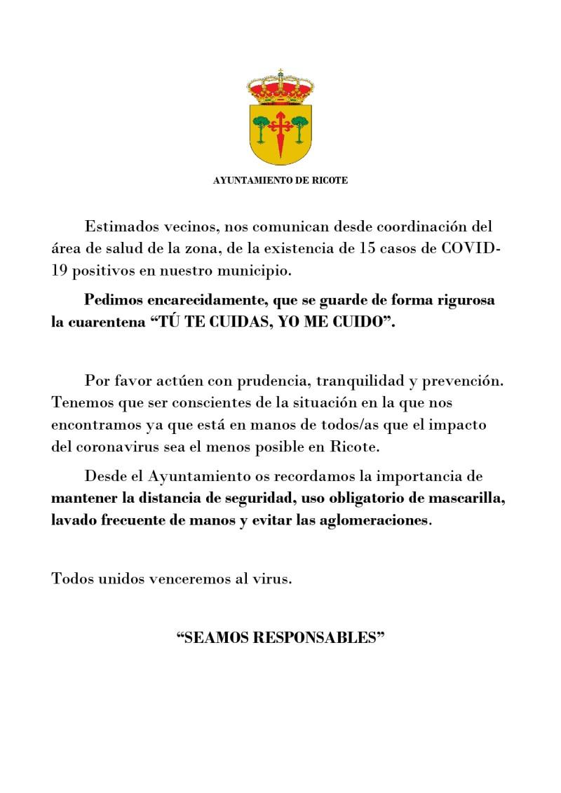COMUNICADO OFICIAL DE ÚLTIMA HORA COVID-19