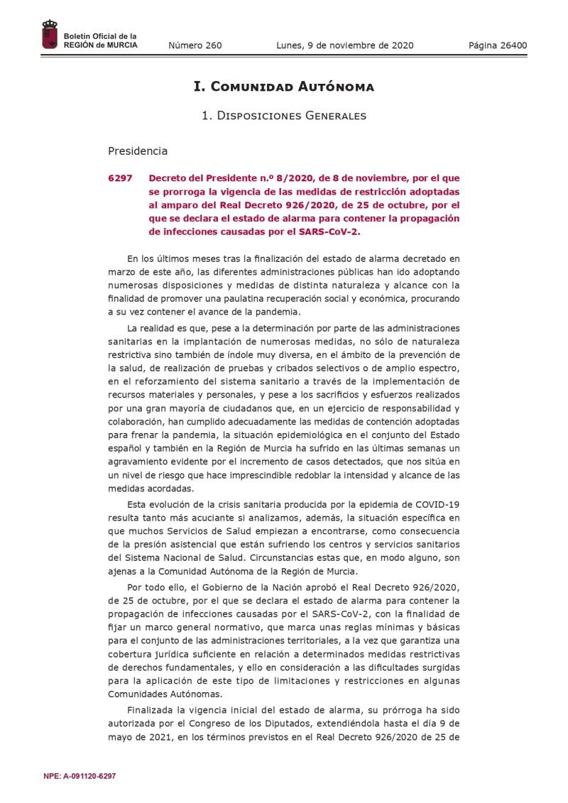 PRORROGACIÓN  MEDIDAS RESTRICTIVAS COVID-19