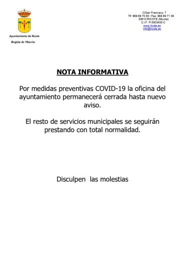 NOTA INFORMATIVA COVID-19 RICOTE
