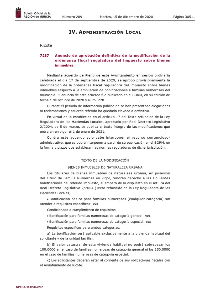 Anuncio de aprobación definitiva de la modificación de la ordenanza fiscal reguladora del impuesto sobre bienes inmuebles. Bonificación familias numerosas.