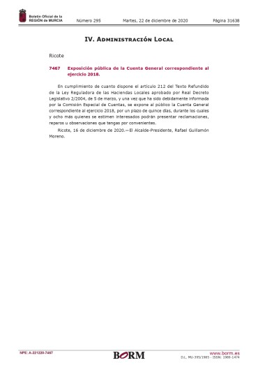 EXPOSICIÓN PÚBLICA DE LA CUENTA GENERAL CORRESPONDIENTE AL EJERCICIO 2018