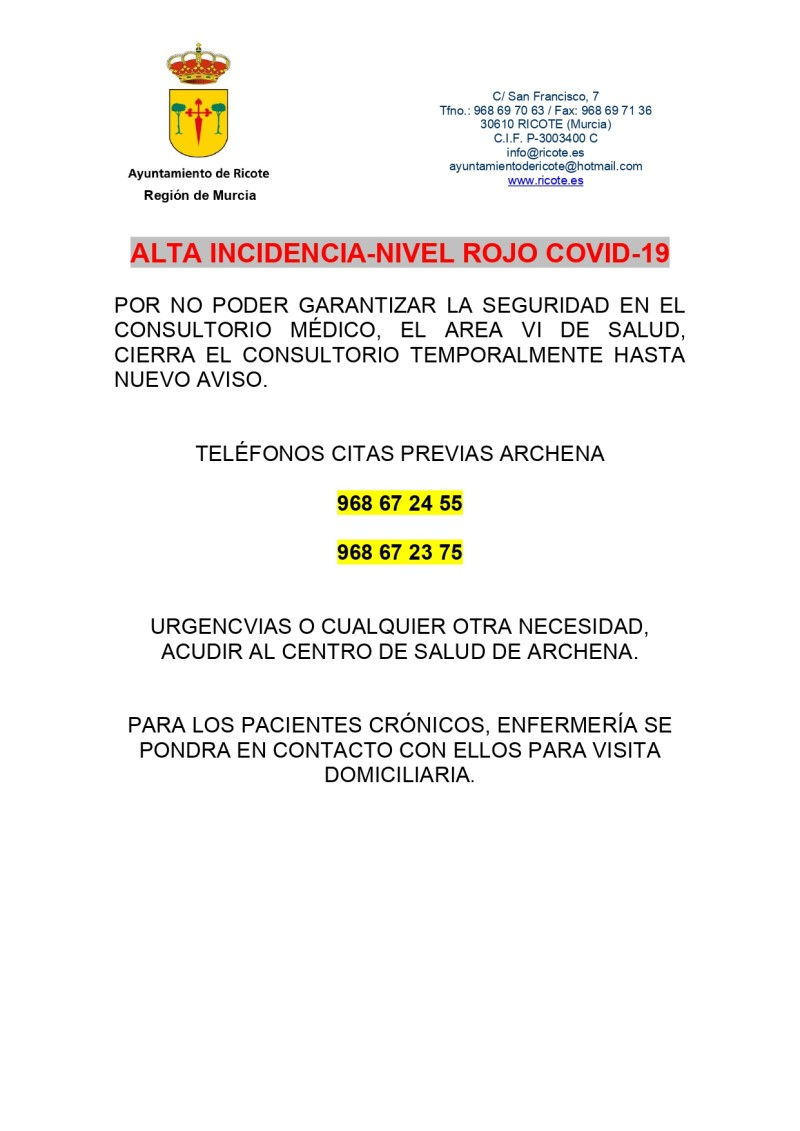 ALTA INCIDENCIA-NIVEL ROJO COVID-19