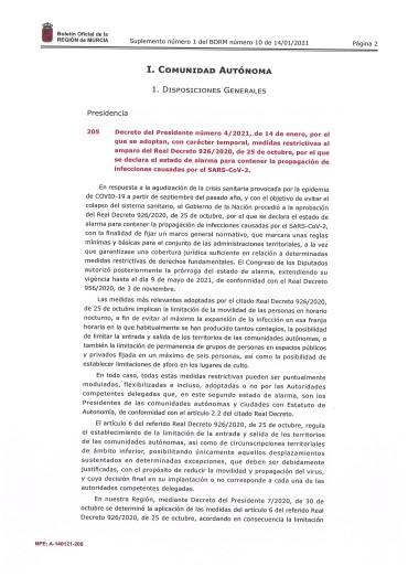 Actualización medidas restrictivas CARM