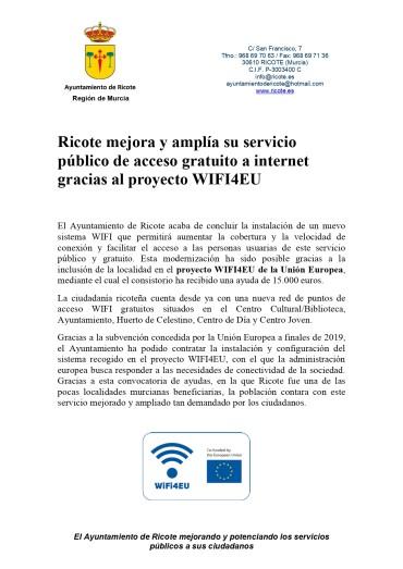 Ricote mejora y amplía su servicio público de acceso gratuito a internet gracias al proyecto WIFI4EU