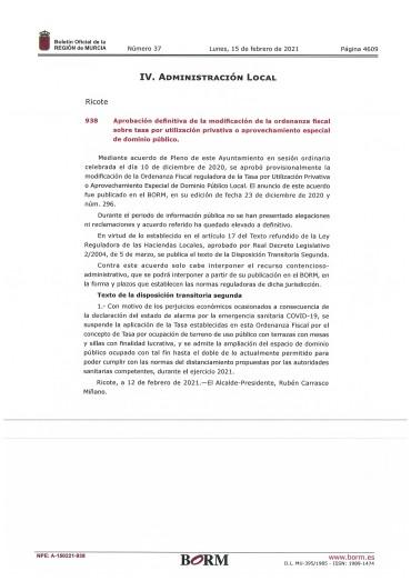 Aprobación definitiva modificación orden aprovechamiento dominio público 2021