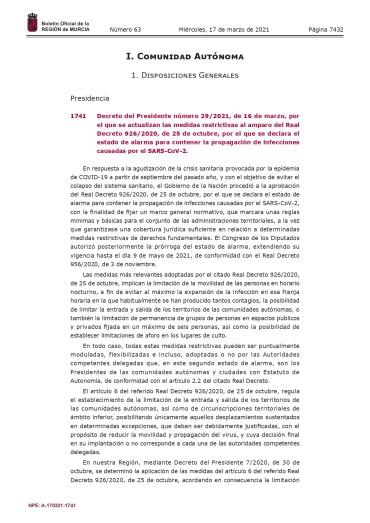 ÚLTIMAS MEDIDAS RESTRICTIVAS COVID-19 REGION DE MURCIA