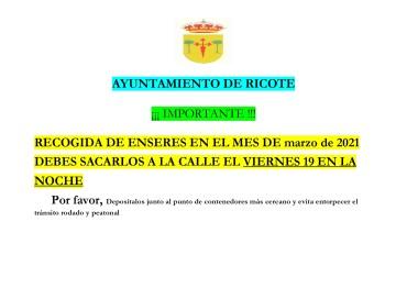RECOGIDA DE ENSERES MES DE MARZO 2021