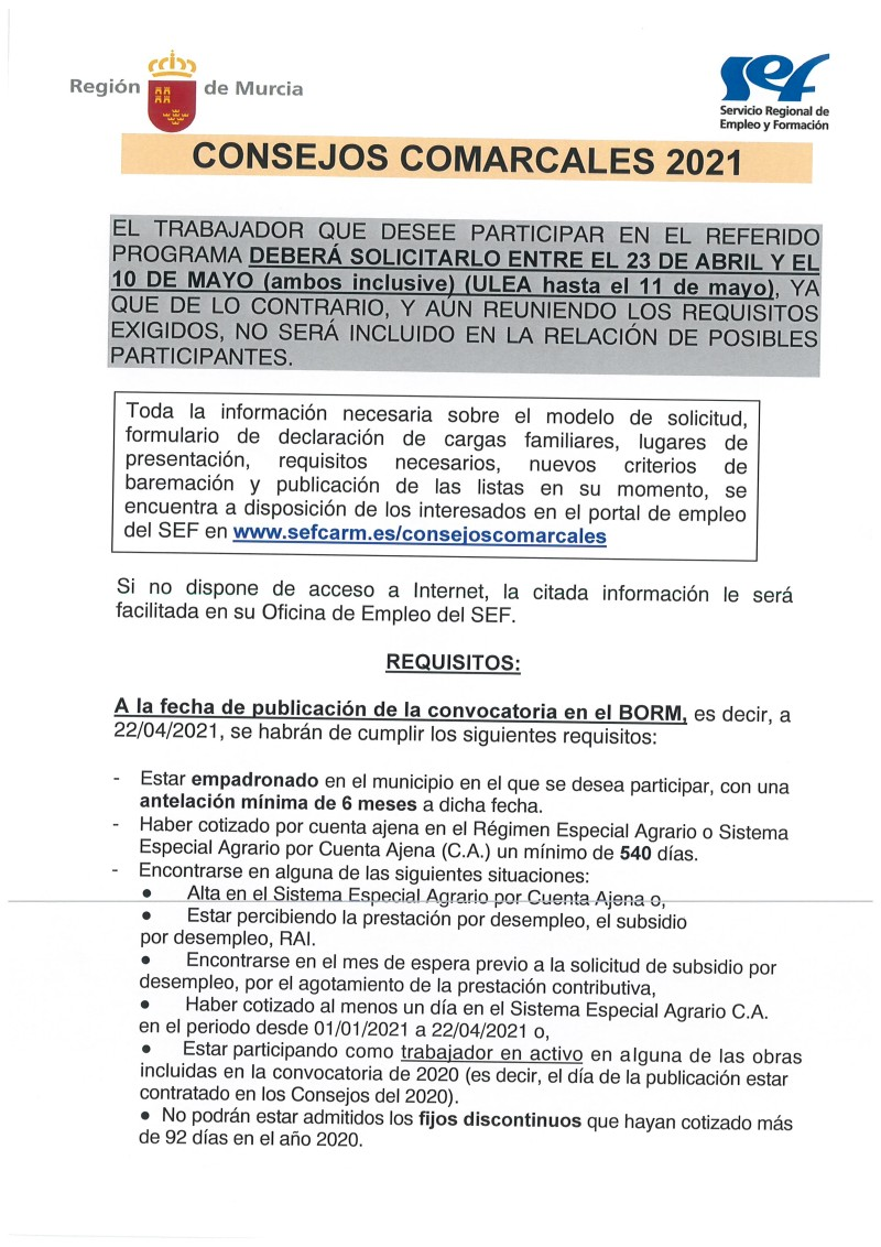 CONVOCATORIA CONSEJOS COMARCALES DE EMPLEO 2021