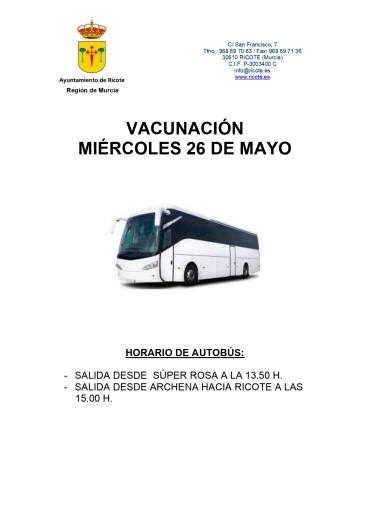 VACUNACIÓN MIERCOLES 26 DE MAYO