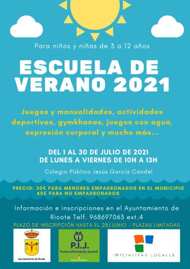 ÚLTIMAS PLAZAS PARA ESCUELA DE VERANO RICOTE 2021