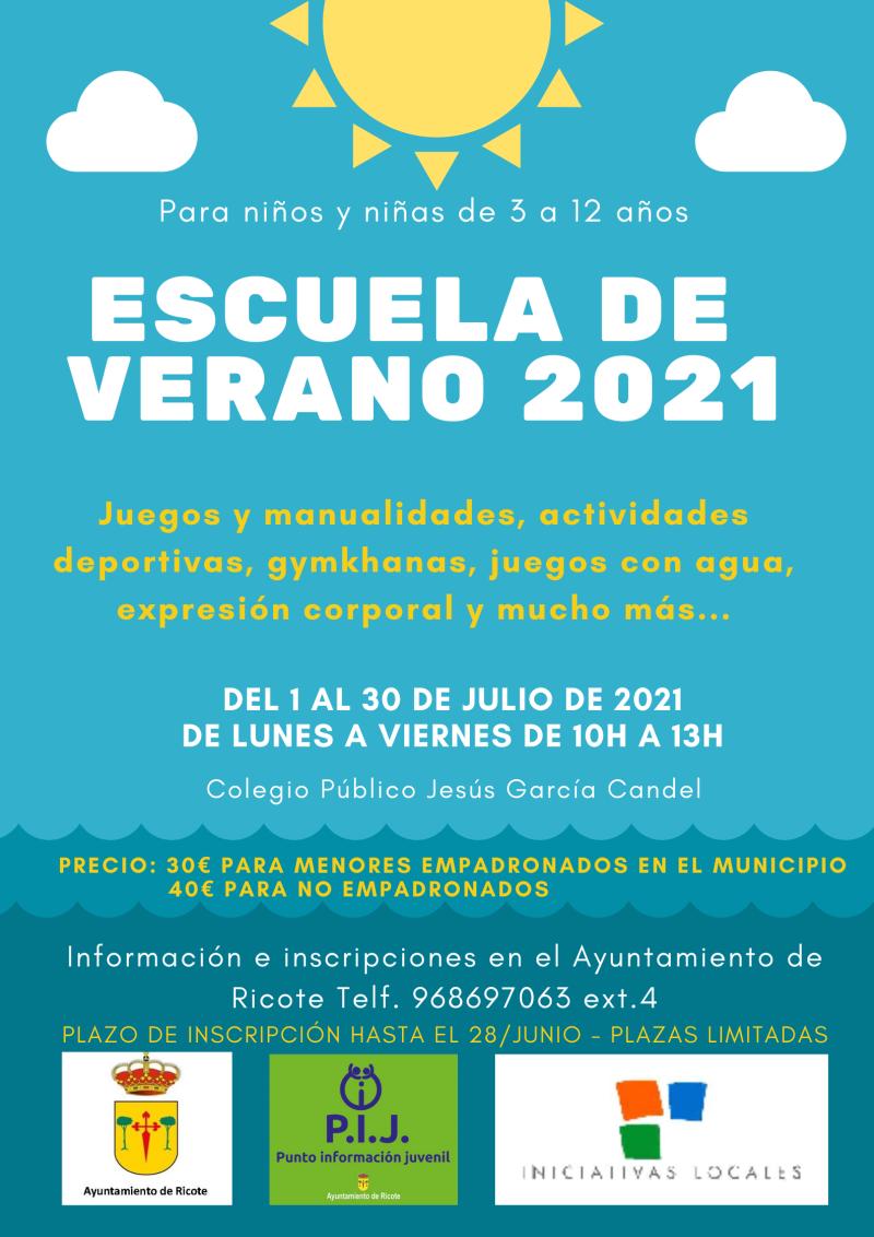 Cartel escuela de verano 2021