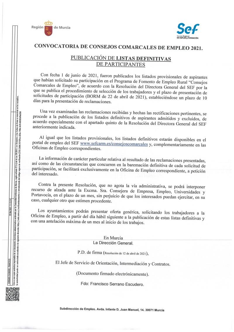 RESOLUCIÓN DEFINITIVA LISTAS CONSEJOS COMARCALES DE EMPLEO 2021