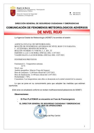 AVISO DE NIVEL ROJO POR TEMPERATURA MÁXIMA PARA EL LUNES 12/07/2021