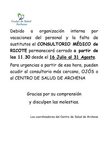 CONSULTORIO MÉDICO DE RICOTE