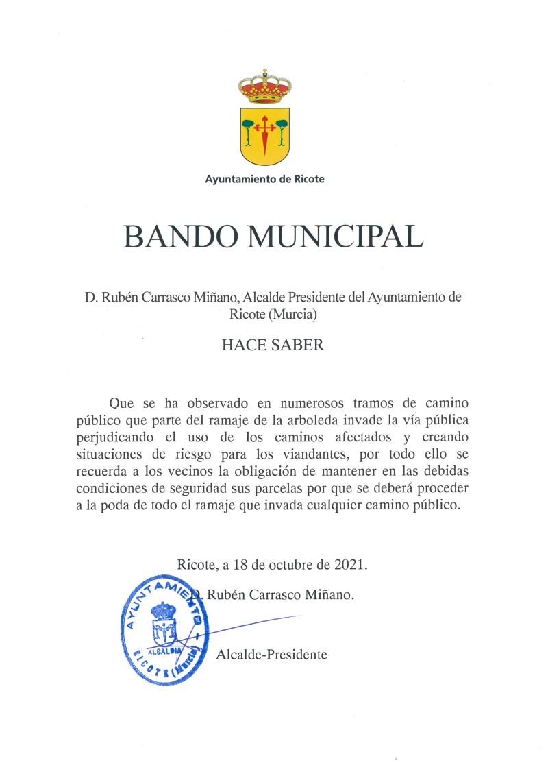 BANDO MUNICIPAL CORTE RAMAS