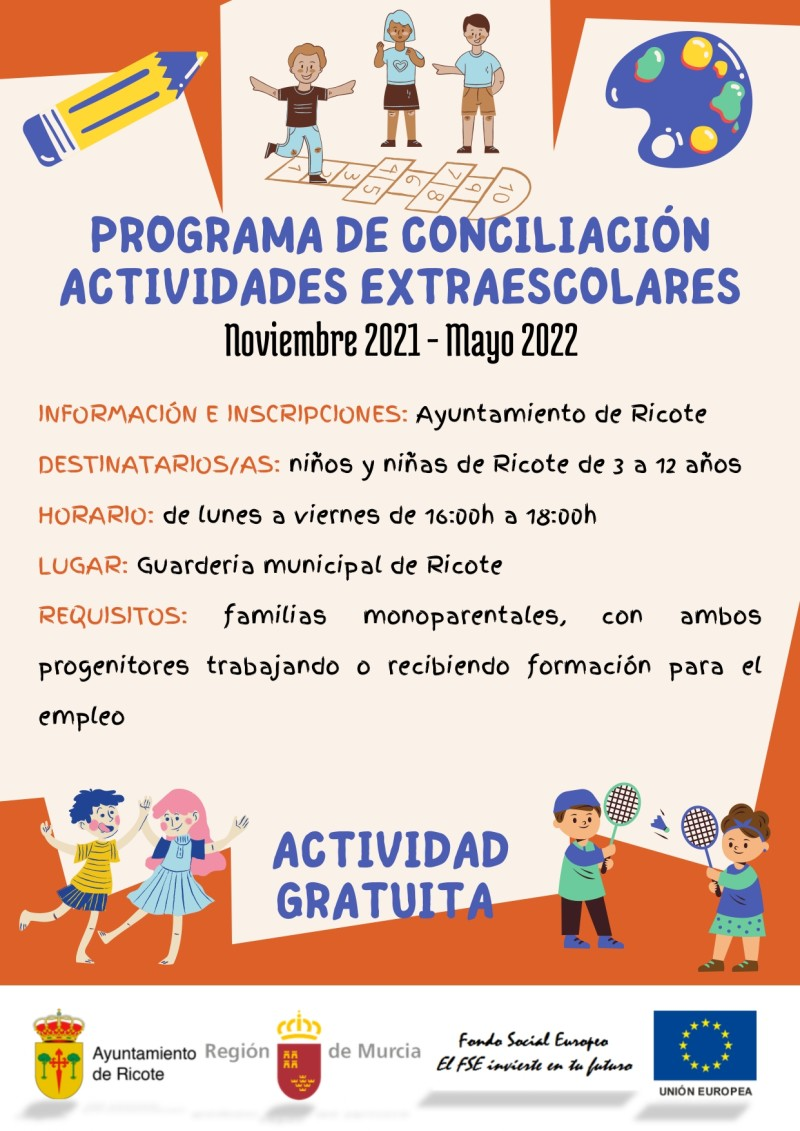 """PROGRAMA DE CONCILIACIÓN AYUNTAMIENTO DE RICOTE 21-22 """"ACTIVIDADES EXTRAESCOLARES"""""""