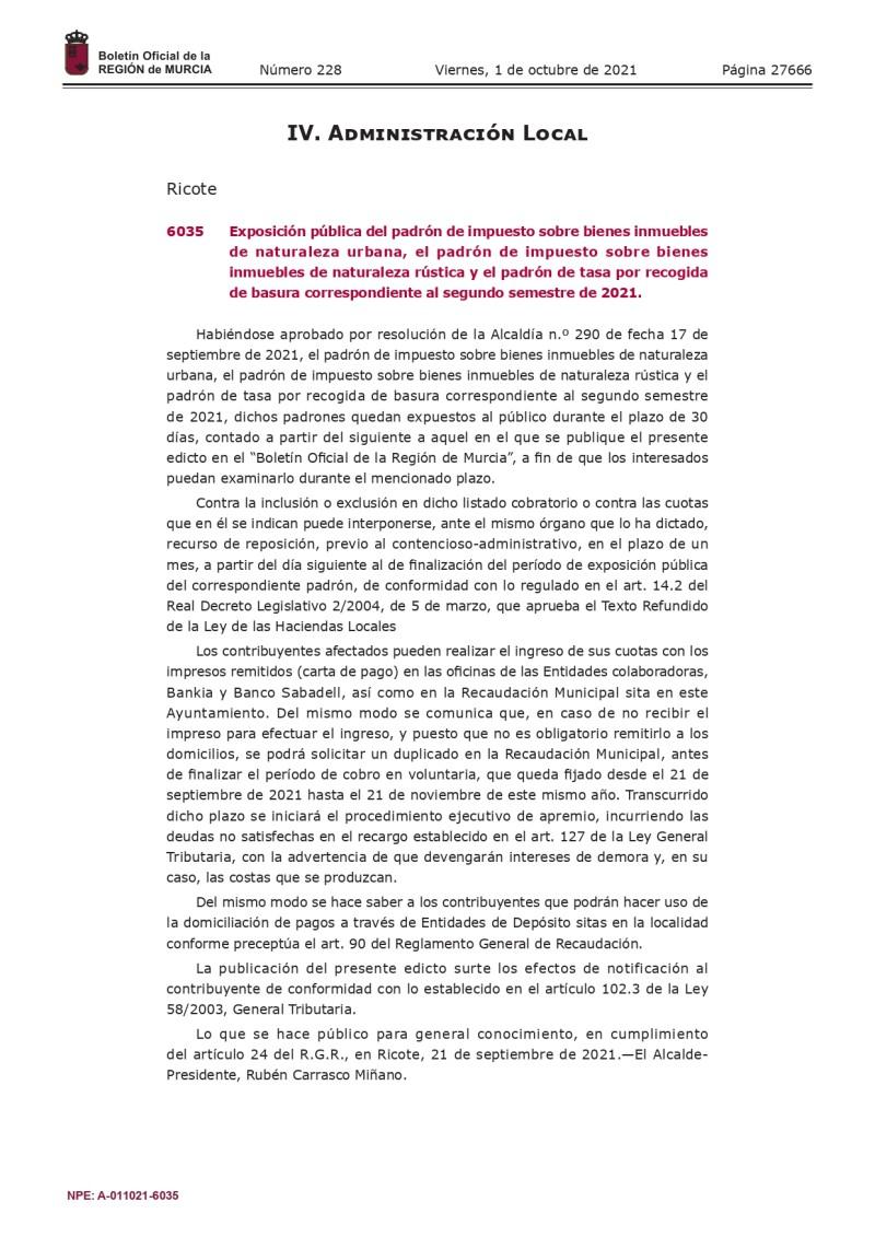 Publicación BORM Padró de Ibi Urbana, Rústica y 2º Semestre basura 2021_page-0001